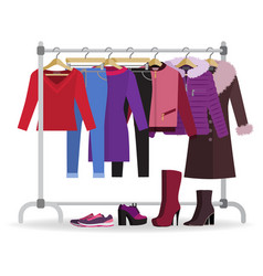 Clothes hanger with casual woman clothes footwear vector