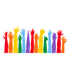colorful hands up vector image