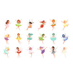 colorful set of fairies in flying action little vector image