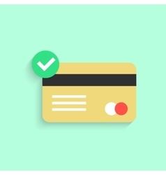 Credit card with yes check mark and shadow vector