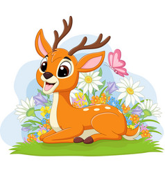 cute deer laying in grass vector image