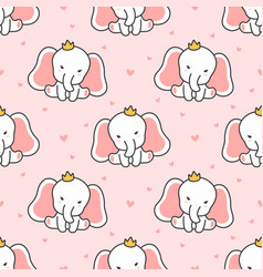 cute elephant seamless pattern background vector image