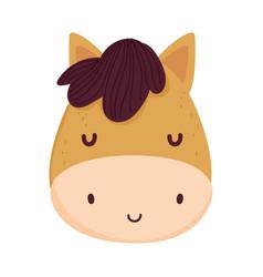 Cute horse face livestock farm animal cartoon vector