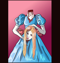 decapitated blonde woman with her head in her hand vector image