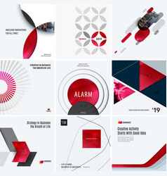 design set of red colourful abstract vector image