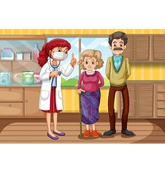 Doctor and two patients in clinic vector image