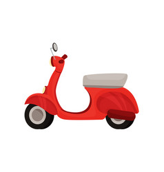 Economical red moped on white vector