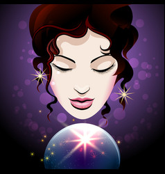 Fortune teller looks into a crystal ball vector
