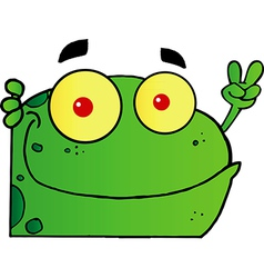 Frog Gesturing The Peace Sign With His Hand vector image