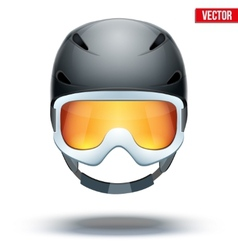Front view of Classic black Ski helmet and vector