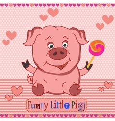 Funny little pig pattern vector image