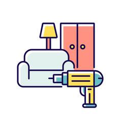 Furniture installation rgb color icon vector