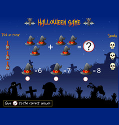 Game count the witch hat in the halloween theme vector