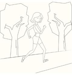 Girl run morning street black and white vector