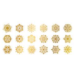gold snowflakes golden shine christmas flake for vector image