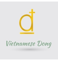 Golden Symbol of Vietnamese Dong vector