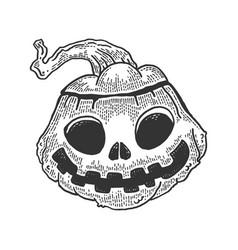 halloween pumpkin sketch engraving vector image