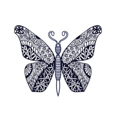 Hand drawn butterfly in zentangle style vector image