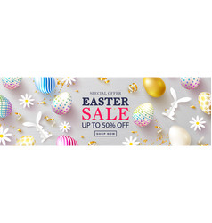 Happy easter sale bannerbeautiful background vector