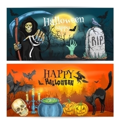 Happy Halloween decoration banners vector