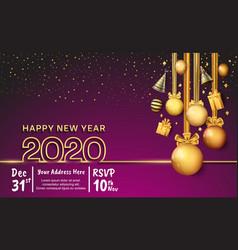 Happy new year 2020 golden outline number vector