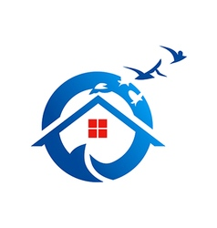 Home beach village realty logo vector