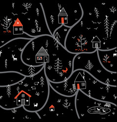 houses in winter night forest seamless pattern vector image