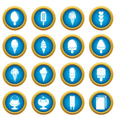 ice cream icons set sweet simple style vector image