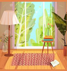 indoor home interior with nature window vector image