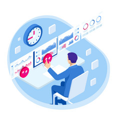 isometric business data analytics process vector image