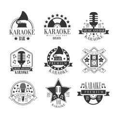 Karaoke Club Black And White Emblems vector image