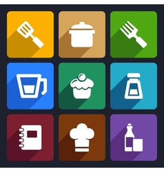 Kitchen flat icons set 24 vector