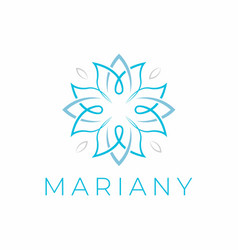 Letter am flower logo design vector