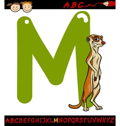 letter m for meerkat cartoon vector image