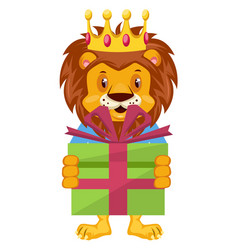 lion with birthday present on white background vector image