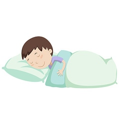 Little boy sleeping under blanket vector image