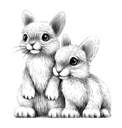 little rabbits wall sticker vector image