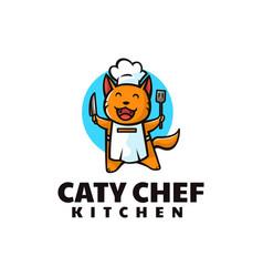 Logo cat chef mascot cartoon style vector