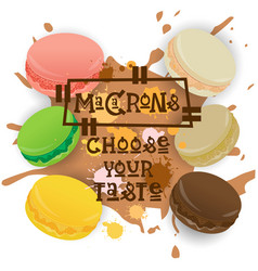 Macarons set colorful desserts collection choose vector