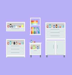 medicine set of drawers items vector image