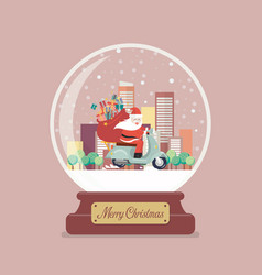 merry christmas glass ball with santa claus stuck vector image