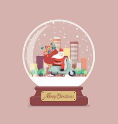 Merry christmas glass ball with santa claus stuck vector