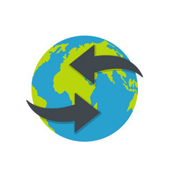 Moving earth icon flat style vector