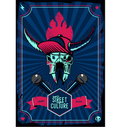 music poster with microphone and bull skull retro vector image