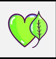 Nice heart with leaf to healthy food vector