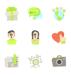 Online interaction icons set cartoon style vector