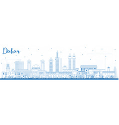 Outline dakar senegal city skyline with blue vector