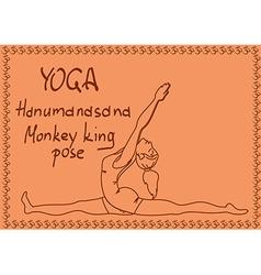 Outline girl in monkey king yoga pose vector