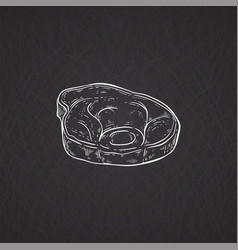 pork or beef meat piece icon chalk drawn cartoon vector image