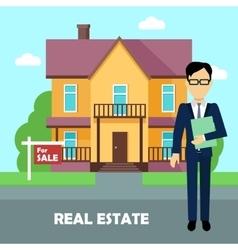 Real estate broker at work Building for sale vector